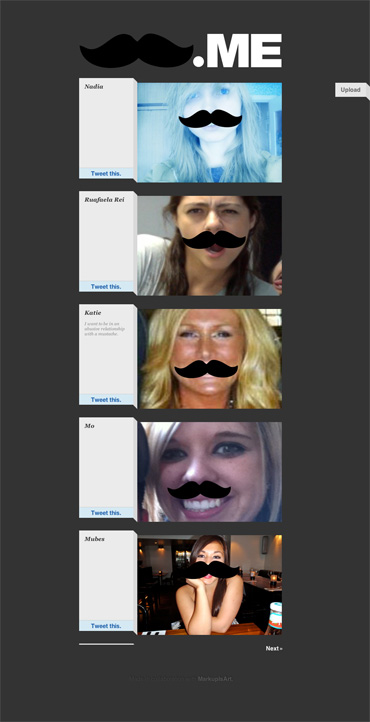 Mustache.me Homepage.
