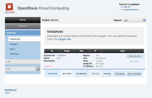 OpenStack Dashboard Instance Detail View.