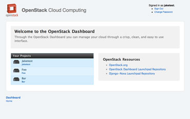 OpenStack Dashboard Home View (logged in).
