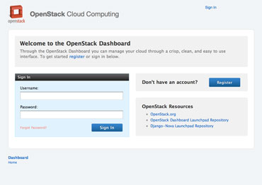 OpenStack Dashboard Home View (logged out).